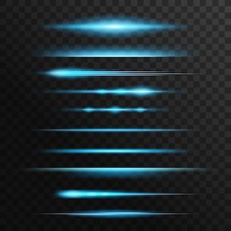 光のフレアと火花、青いネオンのフラッシュ、輝きのライン。輝くイルミネーション、スターライトビーム、バースト、スパークル。光沢のある爆発、水平のきらめくトレース、線形の輝く光線