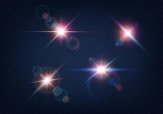 파란색 배경에 밝은 플레어 밝은 화려한 효과. 광학 렌즈 빛나는 손전등 세트. 빛나는 카메라 플래시 현실적인 반짝임. 벡터 일러스트 레이 션