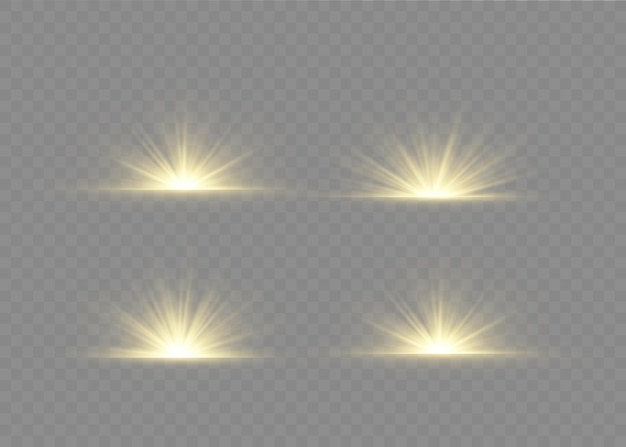Light flare special effect with rays of light and magic sparkles. glow transparent  light effect set, explosion, glitter, spark, sun flash.