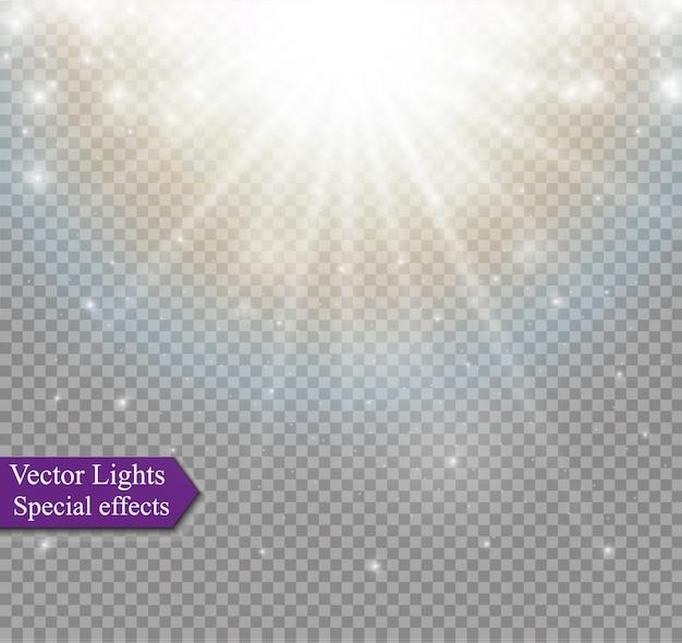 光線と魔法の輝きを持つ光フレア特殊効果。グロー透明な光の効果セット、爆発、キラキラ、スパーク、太陽のフラッシュ、バースト。