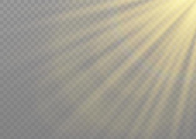 光線と魔法の輝きを持つ光フレア特殊効果。グロー透明光効果セット、爆発、キラキラ、スパーク、太陽フラッシュ。