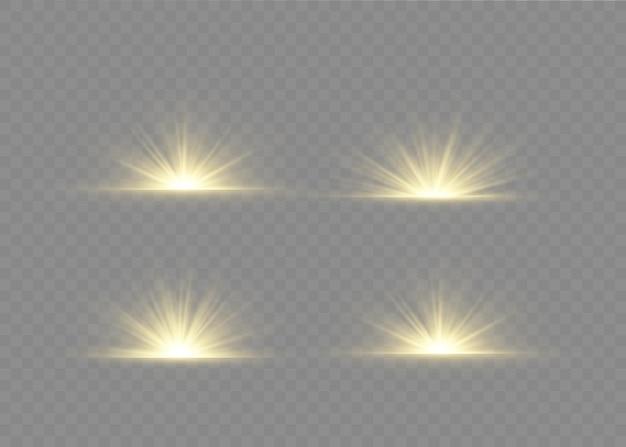Световой эффект вспышки с лучами света и волшебными искрами. набор светящихся прозрачных световых эффектов, взрыв, блеск, искра, солнечная вспышка.