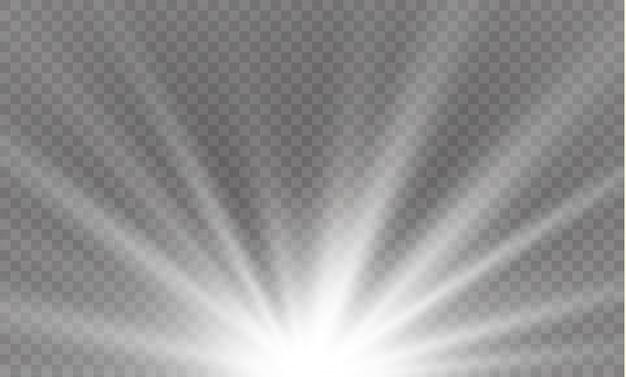 光線と魔法の輝きを持つ光フレア特殊効果。グロー透明光効果セット、爆発、キラキラ、スパーク、ホワイト、サンフラッシュ。