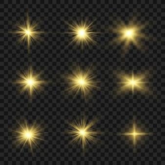 光線と光フレア。グロー透明ライトセット。