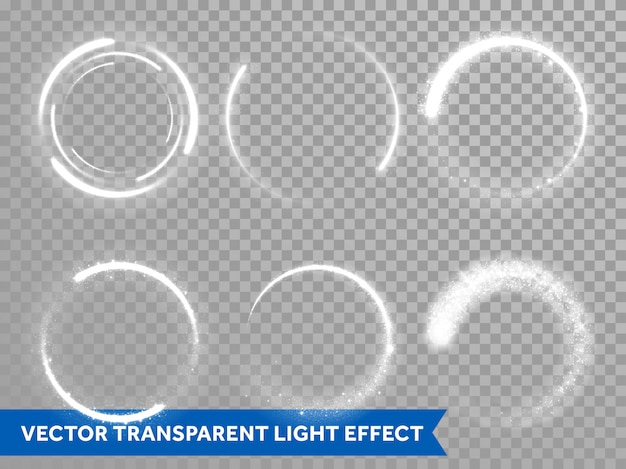 Light flash circle and star shine effect on vector transparent background