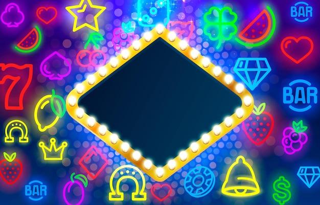 Легкая рамка метка круг бар казино шоу вывеска вектор