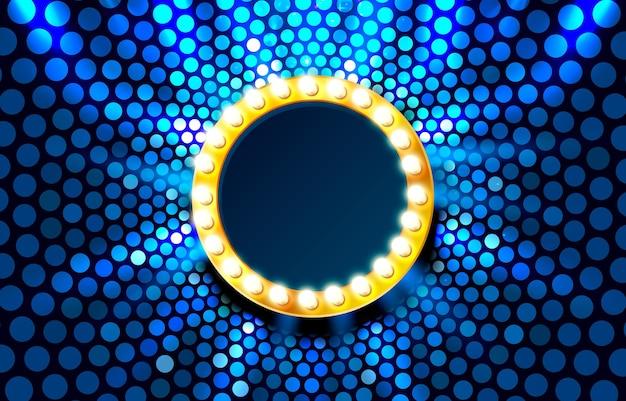 Light frame label circle bar casino show signboard vector