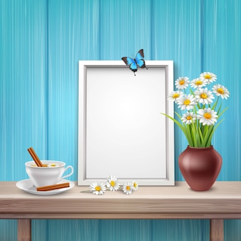 Light frame mockup with cup vase flowers and butterfly in realistic style