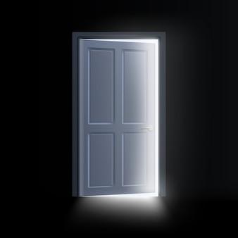 어두운 방의 열린 문에서 나오는 빛, 신비로운 빛나는 출구.