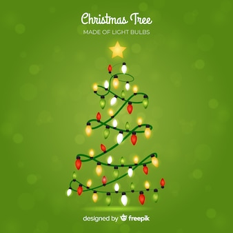 Light garland christmas tree background