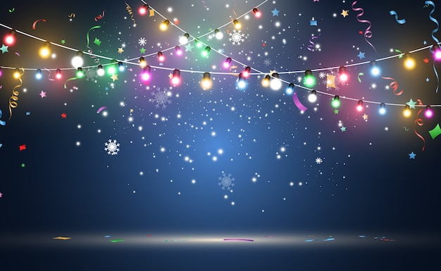 Light garland isolated on blue background