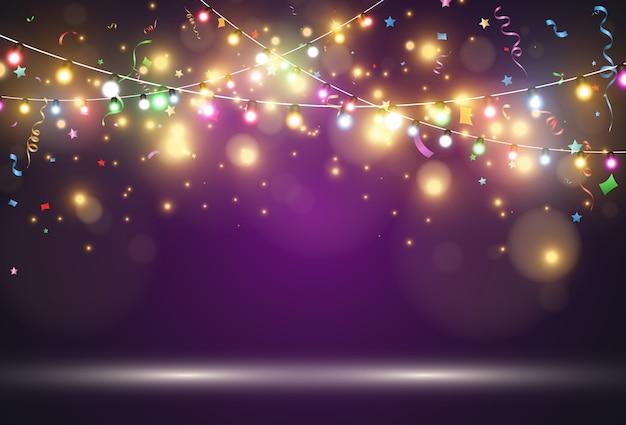 Световая гирлянда на фиолетовом фоне