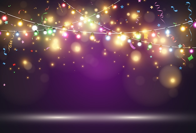 Light garland isolated on a violet background