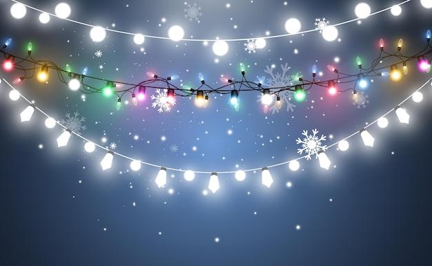 Light garland and snow