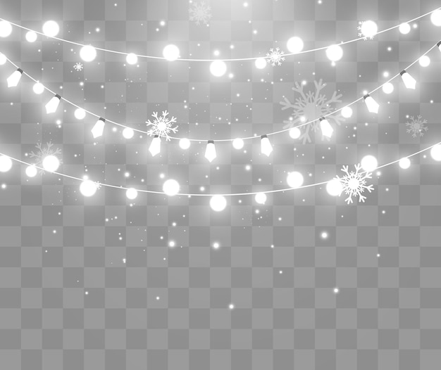 Light garland on transparent and snow