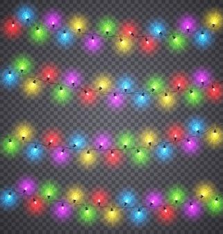 Легкие гирлянды. рождественские праздничные цветные украшения освещения с лампочками на проводах. зимние праздники и фестивальные гирлянды векторный набор.