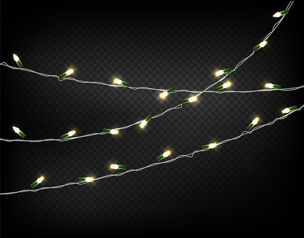 Light garlands isolated on transparent background