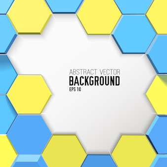 Light geometric background with yellow and blue hexagons