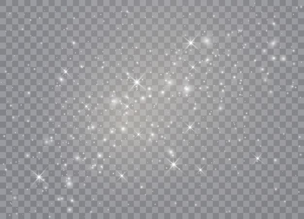 라이트 글로우 효과. 반짝이는 마법의 먼지 입자.