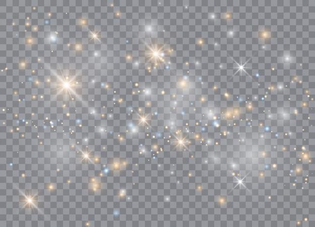 Световой эффект свечения звезд. сверкает на прозрачном фоне. рождественский абстрактный узор. сверкающие частицы волшебной пыли.