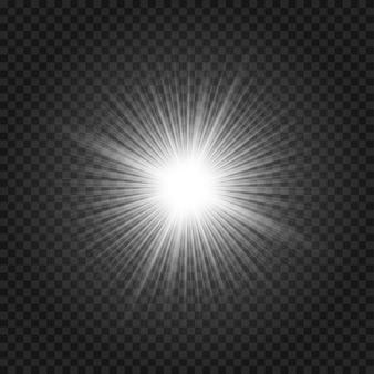 ライトグローフラッシュ効果。透明な背景にスターバースト。魔法の光沢のある輝き。