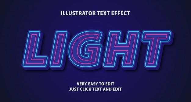 Light glow neon text effect, editable text