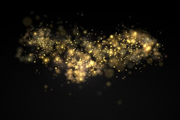 Light glowing bokeh light shining star sun sparks lens flare effect yellow dust christmas
