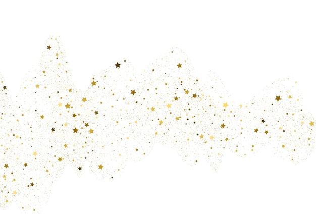 ライトゴールドのキラキラ紙吹雪の背景。ゴールデンスターデジタルペーパー。白い休日のテクスチャ