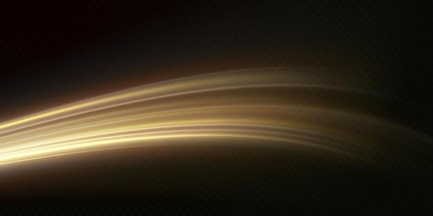 Light golden twirl curve light effect of golden line luminous golden circle vector png