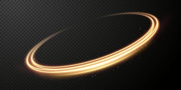 金色の線の光の金色の回転曲線の光の効果明るい金色の円ベクトルpng