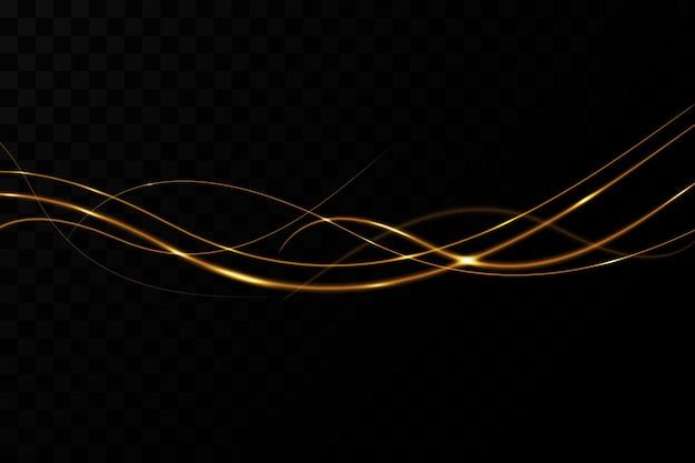 明るい金色の波線クリスマスの装飾の背景光の効果