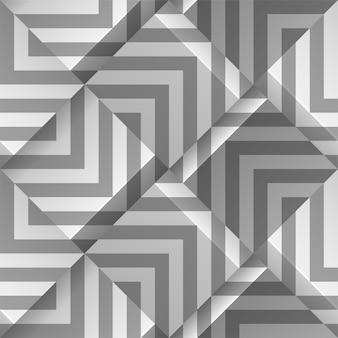 ライトグレーのシームレスな幾何学模様。ストリップ付きのボリュームキューブ。印刷、壁紙、テキスタイルファブリック、包装紙、背景のテンプレート。ボリューム押し出し効果を持つ抽象的なテクスチャ。