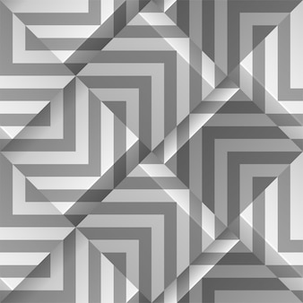 Light gray seamless geometric pattern. volume cubes with strips.  template for print , wallpapers, textile fabric, wrapping paper, backgrounds. abstract texture with volume extrude effect.