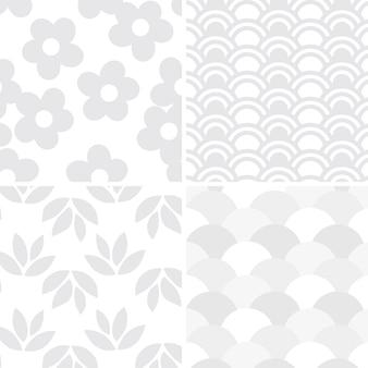 Light gray seamless pattern set