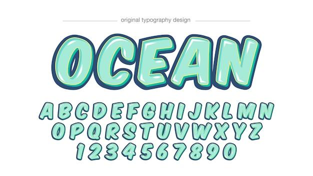 Light green cartoon typography