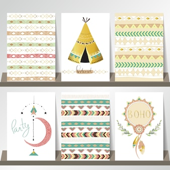 Light green gold pink card template in boho style on summer with arrow,moon and indian tent