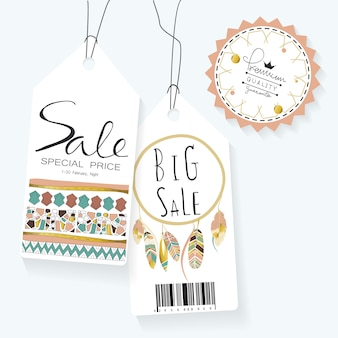 Light green gold pink tag sale in boho style