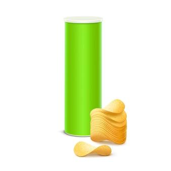 Светло-зеленая жестяная коробка для упаковки с картофельными хрустящими чипсами крупным планом на белом фоне