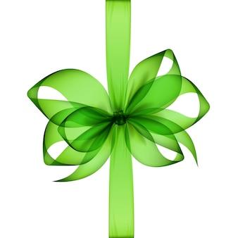 Светло-зеленый прозрачный бант и лента
