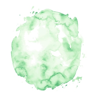 Light green watercolor hand drawn stain isolated on white background for design