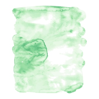 Light green watercolor hand drawn vector stain isolated on white background for design.