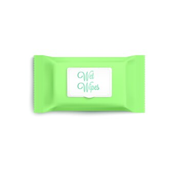 Light green wet wipes pack realistic on white