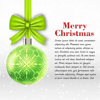 Light grey merry christmas template  with text field and big decoration ball flat vector illustration