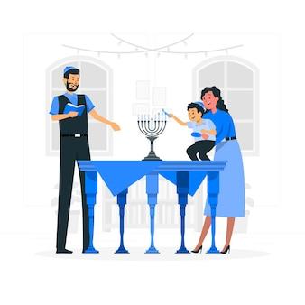 Illumina l'illustrazione del concetto di hanukkah menorah