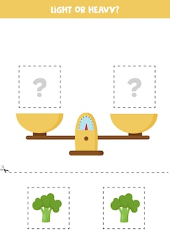 Light or heavy. educational worksheet with scales. introduction of weight for kids.
