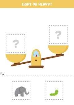 軽い、重い、または等しい。スケール付きの教育ワークシート。子供のための体重の紹介。