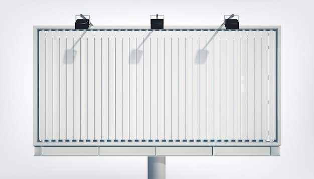Light horizontal billboard  with blank canvas and projectors isolated