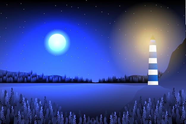 Светлый дом и морской пейзаж с фоном звездной ночи