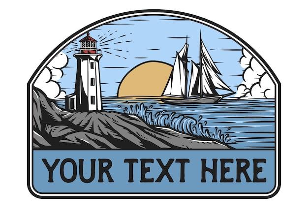 灯台と船のバッジ