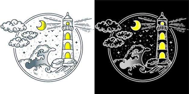 Светлый дом рядом с волной логотип винтаж ретро тату монолайн